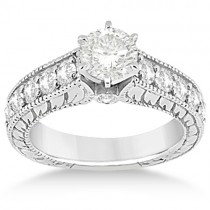 Vintage Diamond Engagement Ring Setting Platinum (1.05ct)
