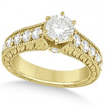 Antique Diamond Wedding & Engagement Ring Set 14k Yellow Gold (3.15ct)