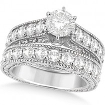 Antique Diamond Wedding & Engagement Ring Set Palladium (3.15ct)