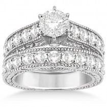 Antique Diamond Wedding & Engagement Ring Set 14k White Gold (2.15ct)
