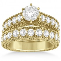 Antique Diamond Wedding & Engagement Ring Set 14k Yellow Gold (2.15ct)