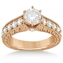 Antique Diamond Wedding & Engagement Ring Set 18k Rose Gold (2.15ct)