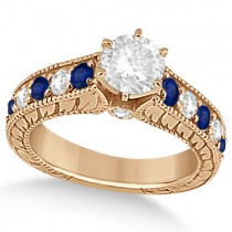 Antique Diamond & Blue Sapphire Bridal Ring Set 14k Rose Gold (3.87ct)