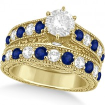 Antique Diamond & Blue Sapphire Bridal Ring Set 18k Yellow Gold (3.87ct)
