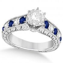 Antique Diamond & Blue Sapphire Bridal Ring Set in Platinum (3.87ct)