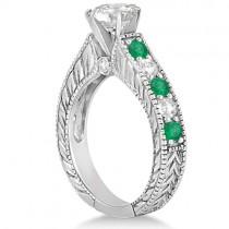 Antique Diamond and Emerald Bridal Ring Set 14k White Gold (3.51ct)