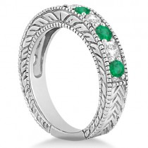 Antique Diamond and Emerald Bridal Ring Set 14k White Gold (3.51ct)