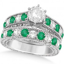 Antique Diamond and Emerald Bridal Ring Set in Palladium (3.51ct)