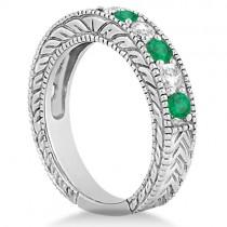 Antique Diamond and Emerald Bridal Ring Set in Platinum (3.51ct)