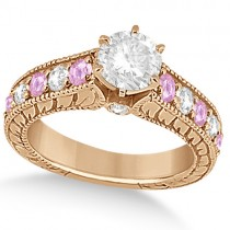 Antique Diamond & Pink Sapphire Bridal Ring Set 14k Rose Gold (3.87ct)