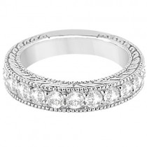 Antique Diamond Engagement Wedding Ring Band 14k White Gold (1.10ct)