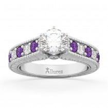 Vintage Diamond & Amethyst Engagement Ring Setting 14k White Gold (1.35ct)