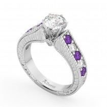 Vintage Diamond & Amethyst Engagement Ring Setting 18k White Gold (1.35ct)