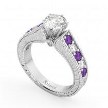 Vintage Diamond & Amethyst Engagement Ring Setting in Palladium (1.35ct)