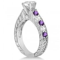 Antique Diamond & Amethyst Bridal Wedding Ring Set 14k White Gold (2.75ct)
