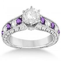 Antique Diamond & Amethyst Wedding & Engagement Ring Set Platinum (2.75ct)