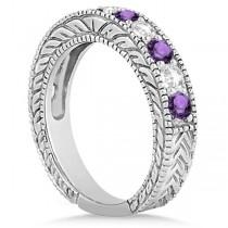 Antique Diamond & Amethyst Engagement Wedding Ring 18k White Gold (1.40ct)
