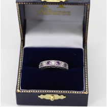 Antique Diamond & Amethyst Engagement Wedding Ring Band Platinum (1.40ct)