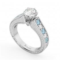 Vintage Diamond & Aquamarine Engagement Ring Setting 14k White Gold (1.35ct)