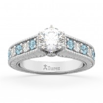 Vintage Diamond & Aquamarine Engagement Ring Setting in Platinum (1.35ct)