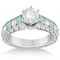 Antique Diamond & Aquamarine Bridal Wedding Ring Set 14k White Gold (2.75ct)