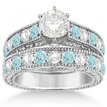 Antique Diamond & Aquamarine Bridal Wedding Ring Set 18k White Gold (2.75ct)