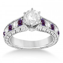 Vintage Diamond and Lab Alexandrite Engagement Ring 14k White Gold (1.41ct)