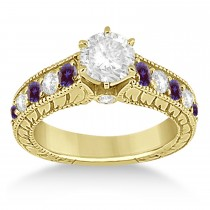 Vintage Diamond and Lab Alexandrite Engagement Ring 18k Yellow Gold (1.41ct)