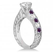 Vintage Diamond & Lab Alexandrite Engagement Ring Setting Palladium (1.41ct)
