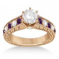 Antique Diamond & Lab Alexandrite Bridal Ring Set 18k Rose Gold (2.87ct)