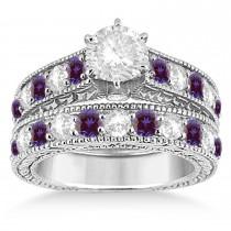 Antique Diamond & Lab Alexandrite Bridal Ring Set 18k White Gold (2.87ct)