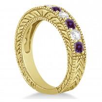 Antique Diamond & Lab Alexandrite Bridal Ring Set 18k Yellow Gold (2.87ct)