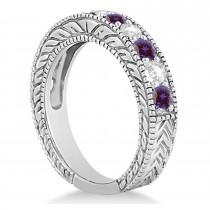 Antique Diamond & Lab Alexandrite Wedding Ring Band 18k White Gold (1.46ct)
