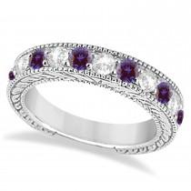Antique Diamond & Lab Alexandrite Wedding Ring Band in Platinum (1.46ct)
