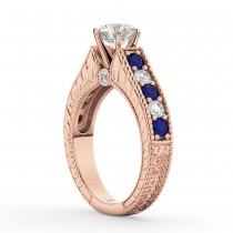 Vintage Diamond and Sapphire Engagement Ring 14k Rose Gold (1.41ct)