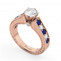 Vintage Diamond and Sapphire Engagement Ring 18k Rose Gold (1.41ct)