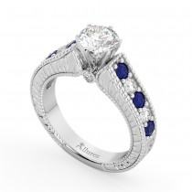 Vintage Diamond & Sapphire Engagement Ring Setting Platinum (1.41ct)