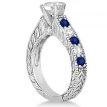 Antique Diamond & Sapphire Bridal Ring Set 14k White Gold (2.87ct)