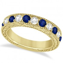 Antique Diamond & Sapphire Bridal Ring Set 18k Yellow Gold (2.87ct)