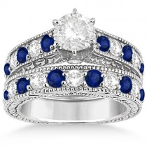 Antique Diamond and Sapphire Bridal Ring Set in Platinum (2.87ct)