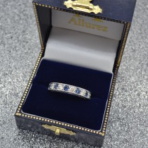 Antique Diamond & Sapphire Wedding Ring Band 18k White Gold (1.46ct)