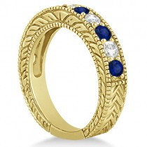 Antique Diamond & Sapphire Wedding Ring Band 18k Yellow Gold (1.46ct)