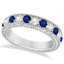 Antique Diamond & Sapphire Wedding Ring Band in Palladium (1.46ct)