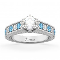 Vintage Diamond & Blue Topaz Engagement Ring Setting 14k White Gold (1.35ct)