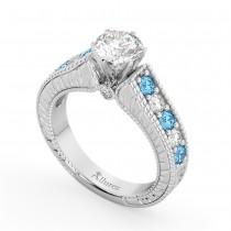 Vintage Diamond & Blue Topaz Engagement Ring Setting 14k White Gold (1.35ct)