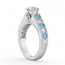 Vintage Diamond & Blue Topaz Engagement Ring Setting 18k White Gold (1.35ct)