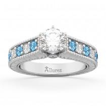 Vintage Diamond & Blue Topaz Engagement Ring Setting in Platinum (1.35ct)