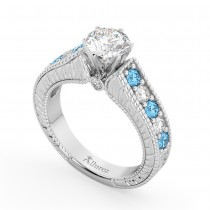 Vintage Diamond & Blue Topaz Engagement Ring Setting in Platinum (1.35ct)
