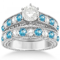 Antique Diamond & Blue Topaz Wedding & Engagement Ring Set Platinum (2.75ct)