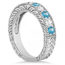 Antique Diamond & Blue Topaz Engagement Wedding Ring 18k White Gold (1.40ct)